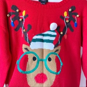 Sweaters - Ugly Christmas Sweater Reindeer Bells Large